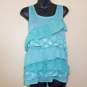 So ruffled flow blue tank top
